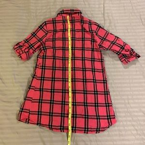 Faded Glory Dresses - Faded Glory pink Plaid tunic with tab roll sleeves